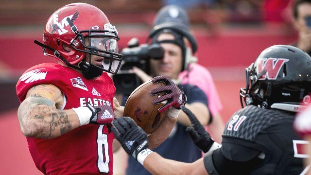 Former EWU WR Cory Mitchell will join his brother with the Calgary Stampeders in the CFL. (Photo: Spokesman)