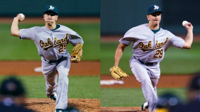 Pat Venditte gave up only one hit in 2.0 innings of switch-pitching relief. (Photos: ESPN/AP)