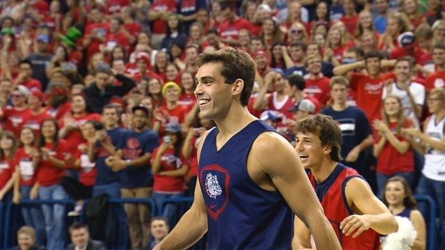 Connor Griffin after completing a monster slam during the Zags slam dunk contest.