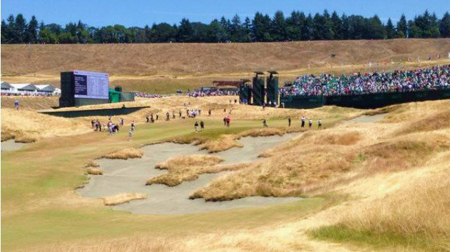 A look at the 18th green at Chambers Bay before the US Open begins. (Photo: John Collett)