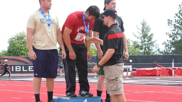 Jordan Arakawa accepting his Big Sky Conference Championships title.