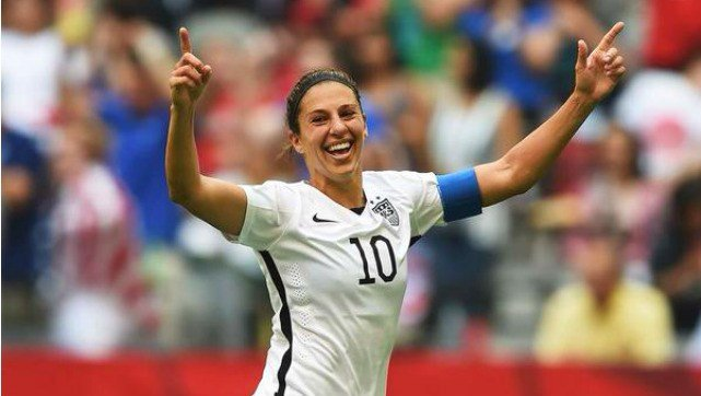 Carli Lloyd scored the fastest hat trick in FIFA Women's World Cup history to lead the USWNT to its first title since 1999. (Photo: AP/Twitter)