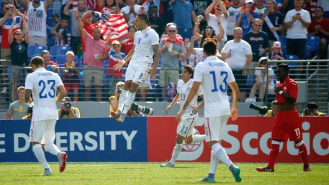 Clint Dempsey scored his first-ever international hat trick to lead the USMNT past Cuba. (Photo: SI/Twitter)