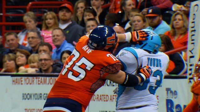 Patrick Afif blocking for the Spokane Shock early in the 2015 season.