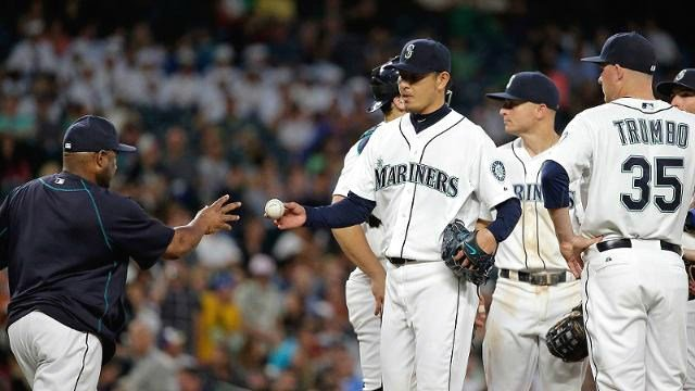 Possibly on the trade market, Hisashi Iwakuma didn't help his value on Tuesday night. (Photo: Mariners)