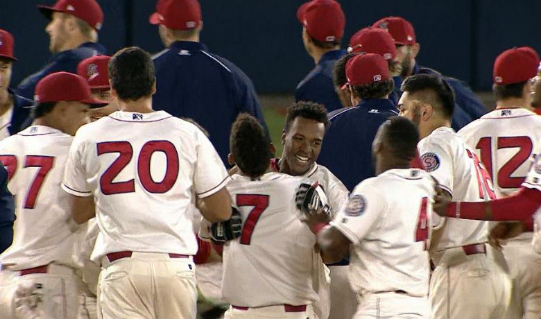 Darius Day had the walk-off RBI for Spokane in the 12th inning Saturday night.