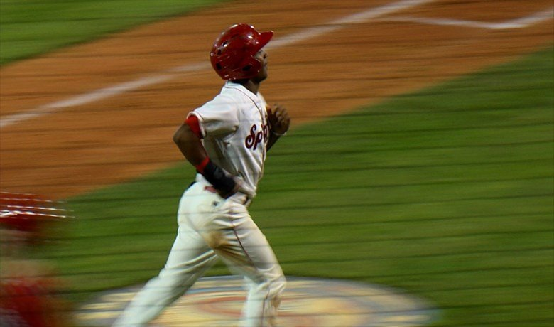 Sherman Lacrus hit a game-tying, two-run homer in the ninth inning to force extras, and Connor McKay knocked in the game-winning run in the 10th inning and the Spokane Indians overcame a five-run deficit to top the Everett AquaSox 7-6.