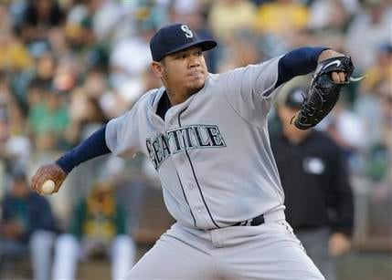 Felix Hernandez and the Mariners were edged by the Angels on Monday at Safeco Field. (AP Photo/Eric Risberg)
