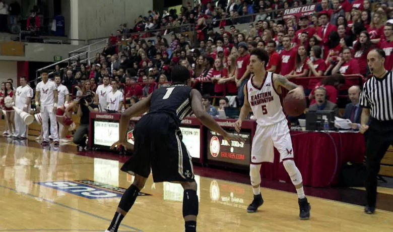 EWU started the game 6-of-6 from the field, including 5-of-5 from beyond the arc to take an 18-6 lead early.
